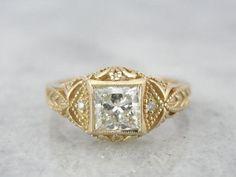 Intricate Fine Gold and Princess Cut Diamond Filigree Ring