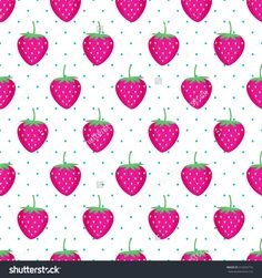 Photo About Cute Vector Strawberry Pattern Seamless Background With Pink Strawberries Summer Fruit Illustration On White Polka Dots