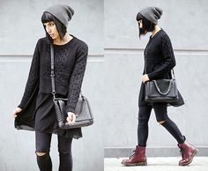 Now Sweater, Camote Soup Beanie, Dr. Martens Boots, Zara Bag.  http://lookbook.nu/user/204267-Alessandra-M/looks