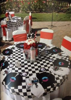 Car Hop Themed Political Party by J Divine Events (vinyl record place mats)