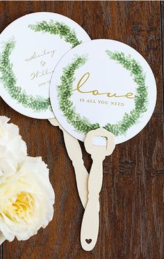 Keep your guests cool with personalized hand fans for your summer wedding | 2017 Summer Wedding Lookbook
