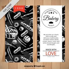 Bakery flyer with drawings Free Vector