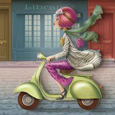 Lady in vespa Decoupage, Art Fantaisiste, Art Mignon, Kids Story Books, Animation, Naive Art, Illustrations, Whimsical Art, Cute Illustration