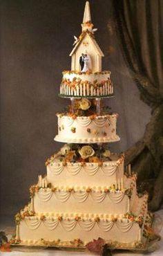 Love this idea. Very cute. Fall theme wedding cakes, autumn wedding cake.