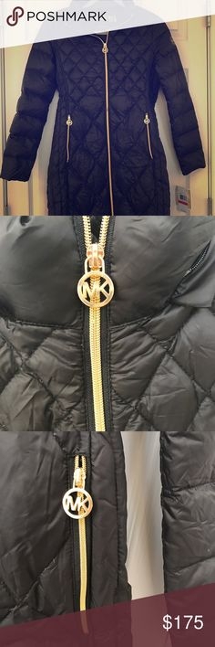 AUTHENTIC, NEVER WORN! Black Micheal Kors coat black, light weight coat with gold accents. detachable hood (by zipper). folds down to fit in its own drawstring storage bag. never worn, tags attached, authenticity card included! Michael Kors Jackets & Coats Puffers