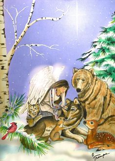 Wildlife Angel Winter Holiday Card Line by ConnieTroupeDesign, $5.00