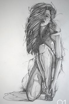 Graphic nude drawing - 80x60 cm - water-soluble, sketching pencils, calligraphic pens.
