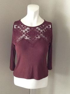 AMERICAN EAGLE LACE 3/4 SLEEVE TOP NEW WITH TAGS SIZE MEDIUM #AmericanEagleOutfitters #LACETOP #Casual