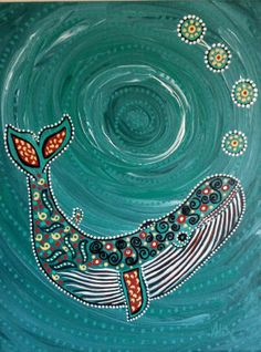 Humpback Whale original 11x14 teal coral black by DreamtimeStudios, $38.00