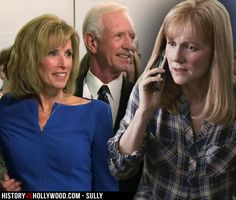Sully's wife Lorraine Sullenberger and actress Laura Linney in the Sully movie. See more pics of the real people behind the Sully movie characters: http://www.historyvshollywood.com/reelfaces/sully/