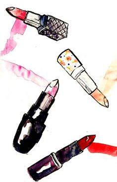 Emily Norton Illustration, Lipsticks I, 2011, Watercolor and ink