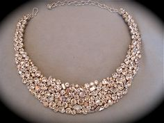 Crystal Bridal Statement Necklace -Swarovski Crystal Mosaic Necklace , bridal bib necklace, swarovski necklace, wedding jewelry
