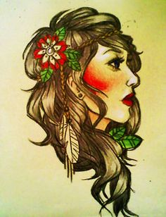 I absolutely must have something similar!!  gypsy/native american pin up tatttoo, flowers following the line of her hair? in the background? weaving through? Hummingbird. Feathers/headband/hair