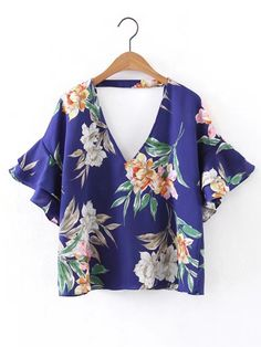 Sheinside Floral Tunic Tops Blue Double V Neck Blouse 2017 Women Bell Layered Sleeve Summer Tops New Elegant Beach Ruffle Blouse Crop Blouse, Ruffle Blouse, V Neck Blouse, Ruffle Sleeve, Floral Print Shirt, Floral Tunic, Modelos Plus Size, Summer Tops, Casual Summer