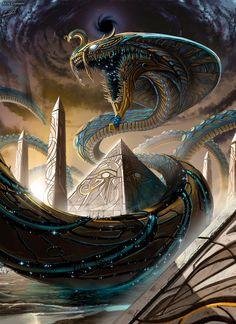 Egyptian Gods and Mythology Dark Fantasy Art, Fantasy Artwork, Space Fantasy, Egypt Concept Art, Mythical Creatures Art, Arte Obscura, Fantasy Beasts, Dragon Artwork, Creature Concept Art