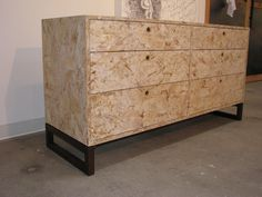 Eco friendly dresser made from OSB with a walnut base and walnut finger pulls with awater based finish. Diy Furniture Renovation, Diy Furniture Cheap, Diy Furniture Hacks, Furniture Legs, Barbie Furniture, Plywood Furniture, Furniture Design, Garden Furniture, Plywood Floors