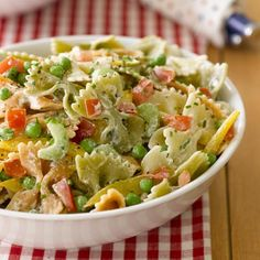 Garden Pasta Salad #recipe: The delicious, unusual dressing includes Greek yogurt, honey and chives.