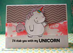 Useless Trinkets Digi Stamp freebie cookie jar, the unicorn - Cookie Jar, the unicorn card I'll stab you with my unicorn creepy card