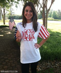 Monogrammed American Flag Short Sleeve T-Shirt   Personalized & Preppy   Marley Lilly