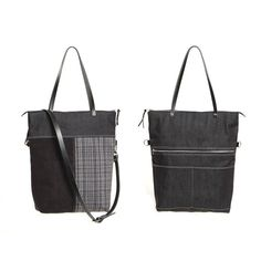 Original black fold-over bag. Mixing fabrics and colors with dark gray denim, black suede and fabric upholstery in gray, white and black. Great for carrying over the shoulder as a tote, or cross as a shoulder bag. Made by hand, with a timeless design that lets you take on countless