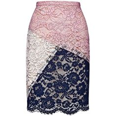 The Brigitte Skirt is a color block lace skirt with a scalloped hem. This skirt is lined.