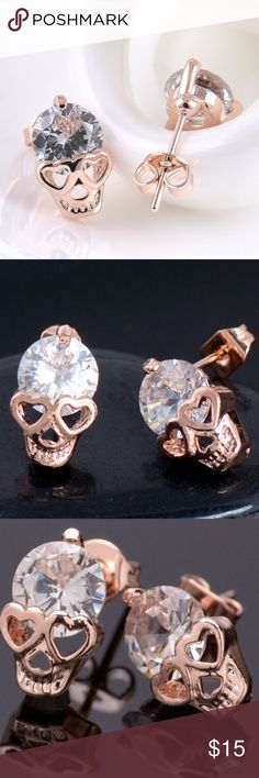 🔥SALE🔥 🆕 18k Rose Gold CZ Skull Stud Earrings Brand New Boutique Item In Packaging And Mesh Bag. 18k Rose Gold Plated With Beautiful Sparkling Cz Stones. Limited Quantity 💝 Boutique Jewelry Earrings