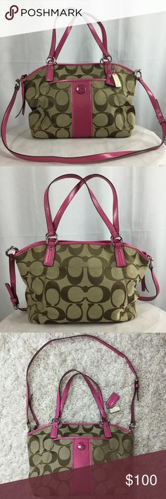 eaed9e33f Coach, brown and pink canvas and leather bag. Coach pink and brown leather  and