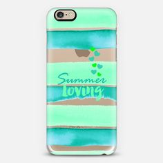 """Summer Loving - Aqua Mint Green"" by Artist Julia Di Sano, Ebi Emporium on @casetify #stripes #watercolor #iPhoneCase #iPhone5 #iPhone6 #iPhone6s #iPhone6Plus #SamsungGalaxy #SamsungCase #EbiEmporium #mintgreen #aqua #turquoise #summer #hearts #typography #quote #stripedcase #quote"