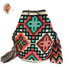 Wayuu bags Peyote Stitch Patterns, Bead Loom Patterns, Crochet Patterns, Crotchet Bags, Knitted Bags, Mochila Crochet, Boho Bags, Tapestry Crochet, Beaded Bags