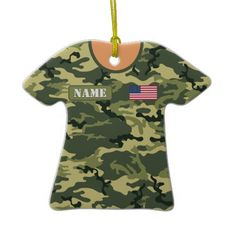 Personalized military camouflage shirt ornaments in several camouflage patterns!