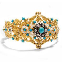 Der Liebsten Arm schönste Zier - Erstklassiger Armreif des Biedermeier aus Gold, Perlen, Türkisen & Diamanten, 1840er Jahre von Hofer Antikschmuck aus Berlin // #hoferantikschmuck #antik #schmuck #antique #jewellery #jewelry