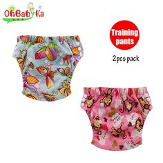 OhBabyKa Reusable Baby Potty Training Pants with Microfiber Fiber Inside Breathable Cloth Diaper Nappies Washable Learning Pants