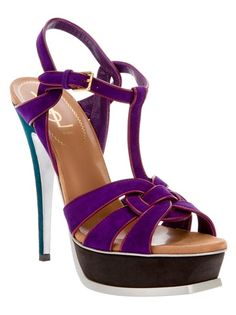 Violet purple suede Tribute sandal from Yves Saint Laurent featuring an open toe, interwoven front straps, a buckled ankle strap, a platform sole and a blue stiletto heel.