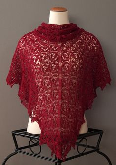 HANDKNIT LACE SHAWL Red Wine Color Triangular Merino by HMTbyINNA, $125.00