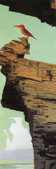 崖の上のアカショウビン Isson Tanaka