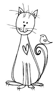 Magenta - Cling Rubber Stamp - Doodle Heart Cat & Bird