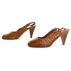 fc95a77e673ae Leather Slingbacks Vintage 70s Woven Leather Pumps Medium High Heel Sandals  Women's Size 8 by SpunkVintage