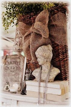 love the burlap bow & basket  @http://countingyourblessings.blogspot.com