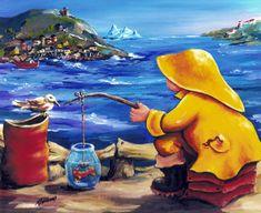 Newfoundland Art - Marie-Jose Williams Art Gallery Newfoundland And Labrador, International Artist, Memory Books, Beach Art, Beautiful Islands, Cassie, Art Work, Watercolour, Folk Art