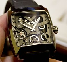 TAG Heuer Monaco V4Titanium: just gorgeous. I love seeing different variations on the ever-classy Monaco. Definitely click through and have a look at the back of this thing!