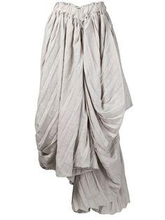 Pleated & Draped Skirt - fashion design detail; sewing ideas; fabric manipulation // Yohji Yamamoto