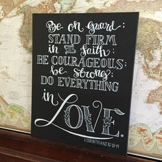 Scripture, Hand Lettered Scripture, Bible Verse, Be On Guard Canvas chalkboard sign 16x20 by HandletteredTruth