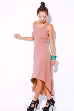 1015store.com-Mocha cut out back high low dress-$15.00