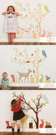 Great site on etsy for decals Wall Decals Woodland (Reusable and removable fabric stickers, not vinyl) - Discount set - Earthy Woodland Scene. $230.00, via Etsy.