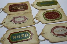 Coffee Stained Christmas Gift Tags  Handmade  Vintage by wkburden, $4.99