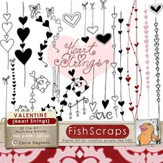 Clip Art Pictures, Digital Stamps & Photoshop Brushes - Valentine Clip Art - Heart Strings - create cards, invitations, Wedding annoucements - commercial, small business use! Heart Doodle, Zen Doodle, Doodle Art, Valentine Doodle, Valentine Love, Doodle Designs, Doodle Patterns, Heart Clip Art, Wedding Graphics