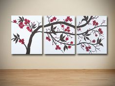 Original Brown and Red Cherry Blossom Triptych Painting on Canvas - Asian - Artwork - orange county - by Sarah Schmid Designs http://www.houzz.com/photos/1977069/Original-Brown-and-Red-Cherry-Blossom-Triptych-Painting-on-Canvas-asian-artwork-orange-county