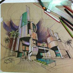 architecturestudent - New Sites Croquis Architecture, Architecture Concept Drawings, Architecture Sketchbook, Futuristic Architecture, Art And Architecture, Interior Design Sketches, Sketch Design, Building Sketch, House Sketch