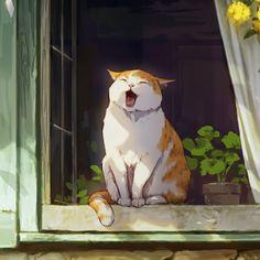 Art And Illustration, Illustration Inspiration, Animal Illustrations, Character Illustration, Aesthetic Art, Aesthetic Anime, Arte Inspo, Anime Scenery, Cat Drawing