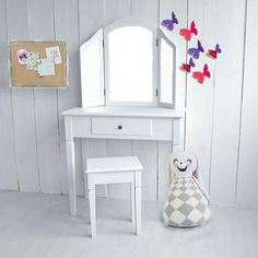 Kinder-Schminktisch ANABELLA, 3 Spiegel, weiß, Breite 80cm